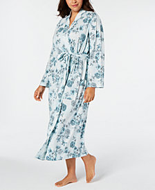 Charter Club Plus Size Cotton Floral-Print Robe, Created for Macy's