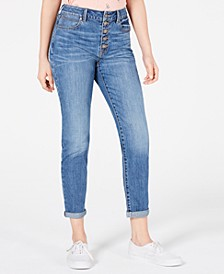 Juniors' High-Rise Button-Fly Straight-Leg Jeans