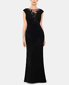 XSCAPE Embroidered Illusion Gown