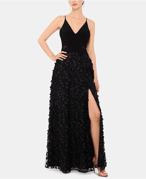 XSCAPE Flower-Skirt Gown
