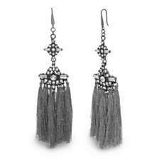 Steve Madden Women's Tassel Drop Black-Tone Earrings