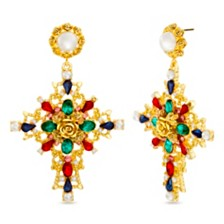 Steve Madden Women's Multi-Color Rhinestone Cross Gold-Tone Earrings