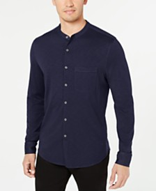 Tasso Elba Men's Knit Band-Collar Shirt, Created for Macy's