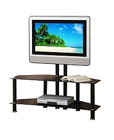 Metal And Glass TV Stand with Adjustable Height And 2 Shelves
