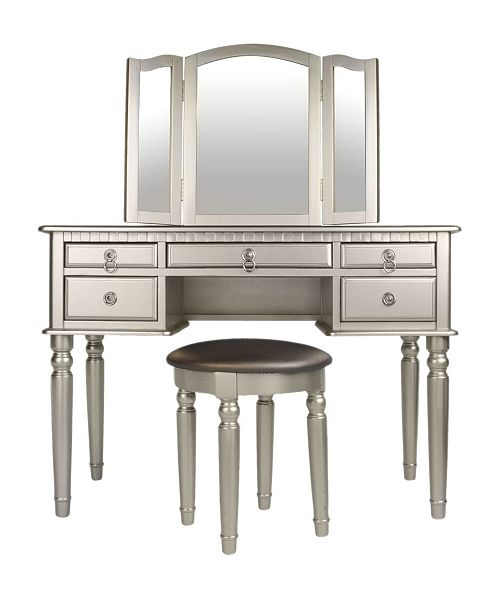 Benzara Commodious Vanity Set Featuring Stool And Mirror