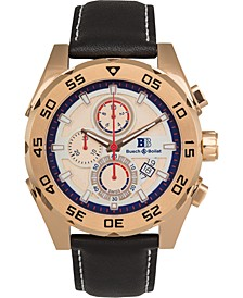 Torrent Men's Chronograph Watch Black Leather Strap, Silver and Rose Gold Dial, 44mm