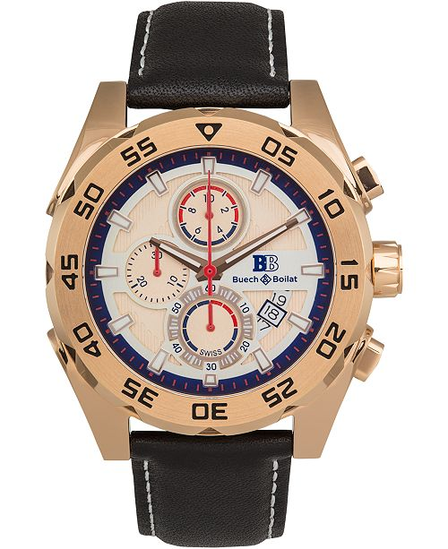 Buech & Boilat Torrent Men's Chronograph Watch Black Leather Strap, Silver and Rose Gold Dial, 44mm