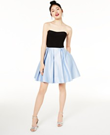 Blondie Nites Juniors' Strapless Fit & Flare Dress