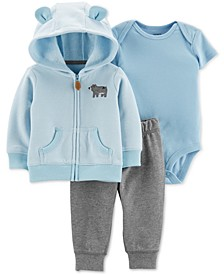 Baby Boys 3-Pc. Hoodie, Bodysuit & Jogger Pants Set
