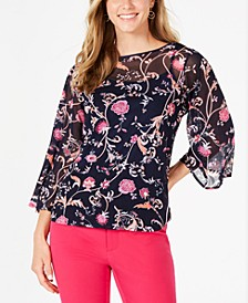 Petite Bell-Sleeve Printed Top, Created for Macy's