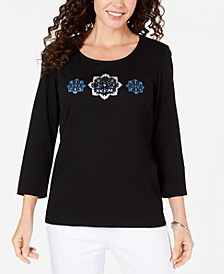 Petite Rhinestone-Embellished Cotton Top, Created for Macy's