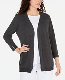 Karen Scott Open-Front Button-Cuffed Cardigan, Created for Macy's