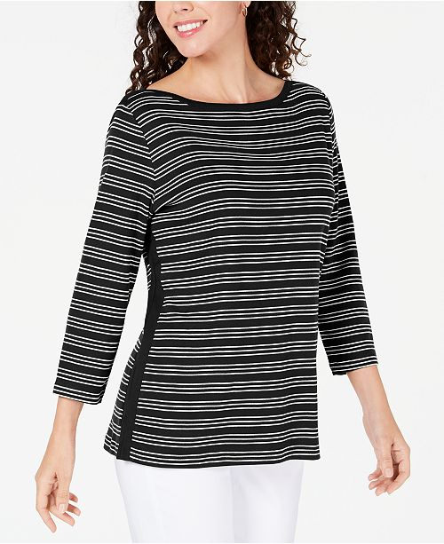 Karen Scott Cotton Striped Vented-Hem Top, Created for Macy's