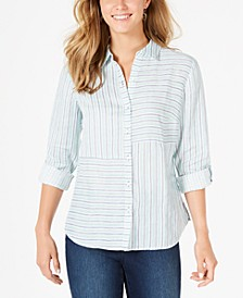 Linen Striped Cuffed Shirt, Created for Macy's
