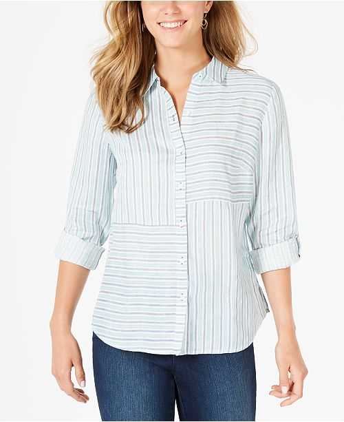 Charter Club Linen Striped Cuffed Shirt, Created for Macy's