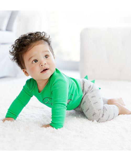 Carter's Baby Boys 3-Pc. Dino-Print Cotton Bodysuits & Pants Set