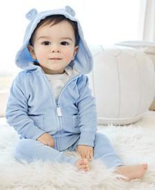 Baby Boys Zip-Front Hoodie, Bodysuit & Bear Pants