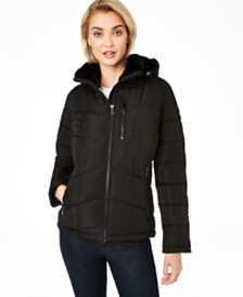 Calvin Klein Petite Front-Zip Faux-Fur Collar Hooded Puffer Coat, Created For Macy's