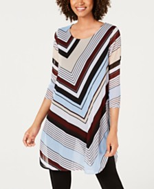 Alfani Petite Chevron Striped Tunic, Created for Macy's