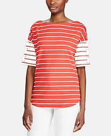 Petite Stripe-Print Lace-Up Cotton Top