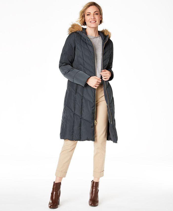 Cole Haan - Chevron Quilt Hooded Down Coat