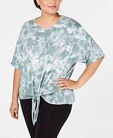 Plus Size Sunburst Tie-Dyed Tie-Front Top