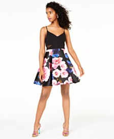 B Darlin Juniors' Printed-Skirt Dress