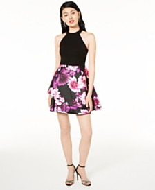 B Darlin Juniors' Bow-Back Halter Dress, Created for Macy's