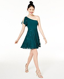 Juniors' Lace & Chiffon One-Shoulder Dress, Created for Macy's