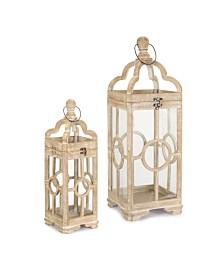 Melrose International Lantern Set of 2 Wood Glass