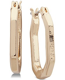 Anne Klein Gold-Tone Octagon Extra Small Hoop Earrings