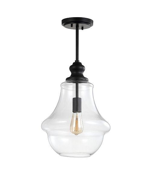 "JONATHAN Y Adam 12"" Adjustable Metal/Glass LED Pendant"