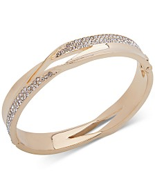 Anne Klein Gold-Tone Pavé Twist Bangle Bracelet