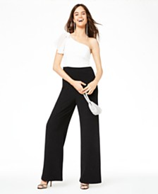 City Studios Juniors' One-Shoulder Glitter Jumpsuit, Created for Macy's