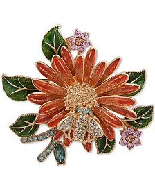 Anne Klein Gold-Tone Multi-Crystal Bee & Flower Pin