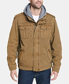Men's Sherpa Lined Two Pocket Hooded Trucker Jacket