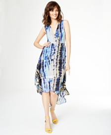 I.N.C. Tie-Dyed Ruffled High-Low Dress, Created for Macy's