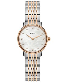 Rado's Women's Swiss Centrix Diamond-Accent Two-Tone PVD Stainless Steel Bracelet Watch 27mm