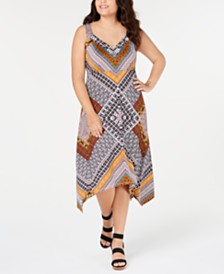 I.N.C. Plus Size Patchwork Sleeveless Handkerchief-Hem Dress, Created for Macy's