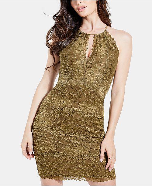 GUESS Metallic Lace Keyhole Dress