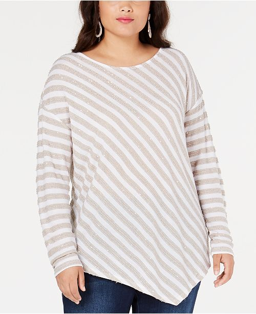 INC International Concepts INC Plus Size Striped Sequined Asymmetrical Top, Created for Macy's