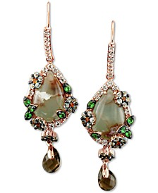 Peacock Aquaprase (14 x 9mm) & Multi-Gemstone (2-5/8 ct. t.w.) Drop Earrings in 14k Rose Gold