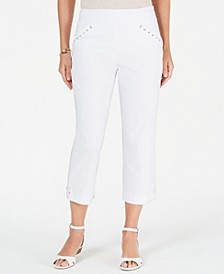 Petite Whip-Stitch Laced-Trim Capri Pants, Created for Macy's