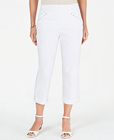 JM Collection Petite Whip-Stitch Laced-Trim Capri Pants, Created for Macy's
