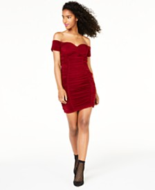 Trixxi Juniors' Off-The-Shoulder Ruched Dress