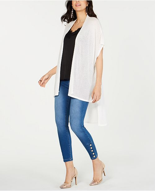 Thalia Sodi High-Low Pointelle-Knit Cardigan, Created for Macy's