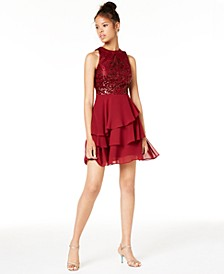 Juniors' Tiered Fit & Flare Dress, Created for Macy's