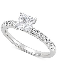 Lab Grown Diamond Princess Engagement Ring (1-1/4 ct. t.w.) in 14k White Gold