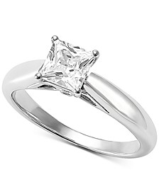 Lab Grown Diamond Princess Solitaire Engagement Ring (1 ct. t.w.) in 14k White Gold