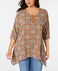 NY Collection Plus Size Handkerchief-Hem Hardware Tunic